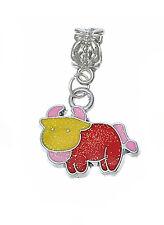 Taurus Bull Zodiac Multi Color Enamel Dangle Charm fits European Bead Bracelets