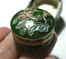 Vintage Beautiful Hinged Cloisonne Enamel Pill Box Small Jewellery Trinket BOX