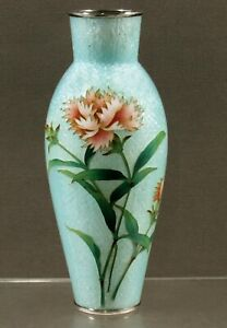 Japanese Cloisonne Vase      ANDO - SILVER WIRE