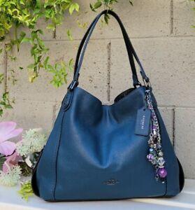 COACH 57670 edie leather carryall Shoulder Bag purse hobo handbag snakeskin blue