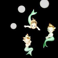 Rare Vintage Bradley Mermaid Baby Trio Wall Plaque Set w Bubbles