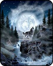 """""""Moon Wolf"""" Officially Licensed Faux Fur™ Medium Weight Blanket"""