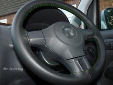 Vera pelle nera Volante Copertura Per DODGE RAM 4 CUCITURE VERDI 2500 09-15