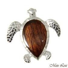 Koa Wood Hawaiian Honu Sea Turtle Rhodium Silver Plated Brass Slide Pendant