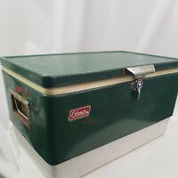 Green Coleman Metal Cooler Ice Chest Vintage 1976 Bottle Opener on Handles