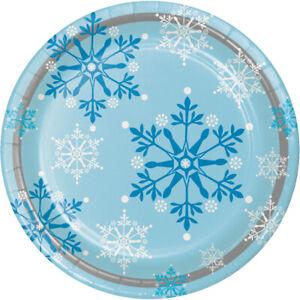 8 x Blue & White Frozen Snowflakes Paper Plates Winter Christmas Tableware
