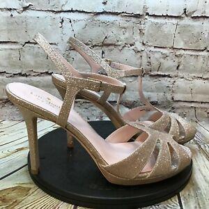 Kate Spade Feodora Metallic Gold Peep Toe T Strap Stiletto Heels Size 10.5 M