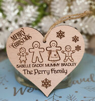 PERSONALISED FAMILY CHRISTMAS DECORATION TREE BAUBLE GINGERBREAD MAN MUMMY DADDY