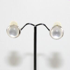 Cat-Eye - Silver Framed Round Clip-on Earrings - White