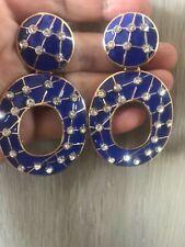 MASSIVE ZARA retro style BLUE enamel encrusted rhinestones drop-dangle earring