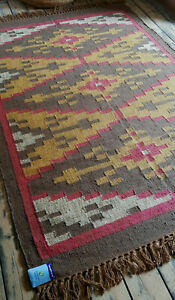 Jute Wool Kilim Rose, Ochre Taupe 120x180cm Quality Hand Made Reversible rug