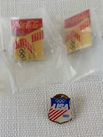 1980 & 1984 Los Angeles Olympic Pins Set Of 3 Pins Coca Cola