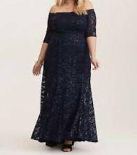 9c248a72cecac Torrid Navy Sequin Lace Off Shoulder Gown Dress 55