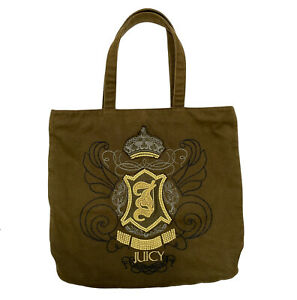 Juicy Couture Tote Bag Embroidered Khaki Cotton Hobo Purse Books Shopping Travel