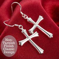 925 Sterling Silver Dangle Cross Hoop Cutting-Edge Inlaid Heart Pierced Earrings