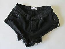 One by One Teaspoon Bandit Women's Black Denim Button Fly Short Shorts