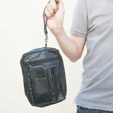 Black Leather Men's Messenger Bag Organizer Travel Handbag Hand Strap