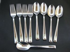 9 pieces Oneida LINCOLN Stainless Flatware Shiny