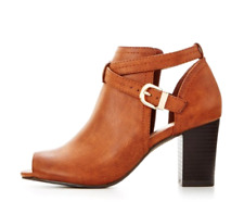 Wallis Abree Womens UK 6 EU 39 Tan Brown Peep Toe Zip Up Block Heel Ankle Boots
