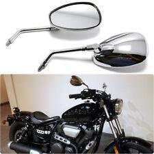 Cruiser Bobber Motorcycle Long Stem Side Mirror Chrome Oval m10 For Honda Suzuki