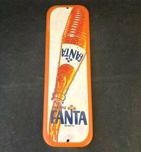 Vintage FANTA ORANGE SODA PAINTED DOOR PUSH PALM PRESS SIGN Rare Old Advertising