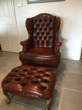 MORAN ROMSEY CHESTERFIELD LEATHER ARMCHAIR WINGBACK WING CHAIR