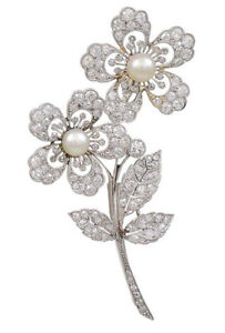 1.60ct Natural Round Diamond 14k Solid White Gold Pearl Gemstone Brooch Pin