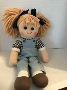 """15"""" Blonde Hair Cloth Doll Denim Bibs Plaid Shirt Brown Shoes"""