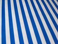 ROYAL BLUE WHITE CABANA STRIPE PICNIC BEACH BBQ OILCLOTH VINYL TABLECLOTH 48x84