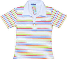 Ladies Manga Polo Collar Candy Womens Stripe T-Shirt 10-12 Medium