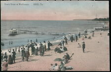 ERIE PA Folks at Waldameer Beach Pier Vintage Hand Colored Postcard Old