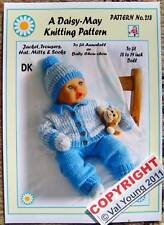 "Dolls knitting pattern for Annabell or 18"" to 19"" doll  No.218 by Daisy-May"
