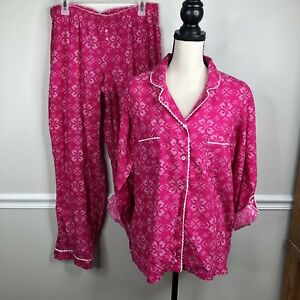 Women's Victoria Secret large  Pink Flannel Pink  Pajama Set pjs valentines day