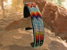 Beautiful Handmade Beaded Navajo Bracelet GREAT PATTERN W/ Brass Nathaniel