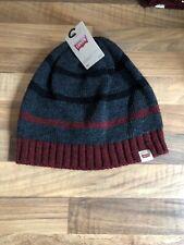 LEVIS Stripe Knitted Beanie Hat Black Red Grey Genuine Brand New L / XL