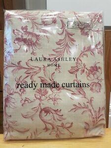 Brand New Pair Laura Ashley Curtains Ironwork Scroll In Raspberry Lichen Each...