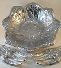 Arthur Court Iris & Hummingbird Salad Bowl & Serving Forks Aluminum