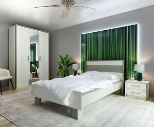 Bedroom set, double bed, wardrobe and two bedside cabinets in modern colour