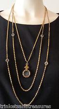 Vintage Goldette 3 Chain Necklace Glass Intaglio Cameo Pendant Bezel Set Stones