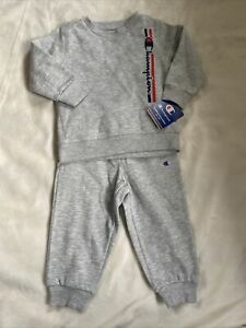 Champion Toddler Sweatsuit Unisex Size 24 Months Gray Elastic Cuffs Logo