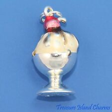 Heavy Enamel Ice Cream Sundae 3D .925 Solid Sterling Silver Traditional Charm
