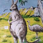 "1976 Kangaroo & Emu Linen for Wall Hanging, Designed in Australia, 21"" by 32"""