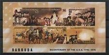 BARBUDA, MINISHEET BICENTENARY OF USA 1976 IMPERFORATED !!