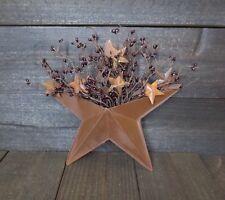 Primitive Country Rusty Wall Pocket w/ Dark Burgundy Pip Berry & Mini Barn Stars