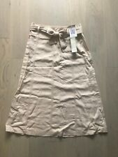 BNWT Beautiful Marks and Spencer Size 8 Beige Cream Linen A-Line Casual Skirt