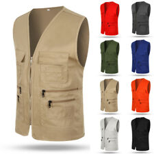 Men Casual Multi Pocket Vest Gilet Fishing Hunting Jacket Outdoor Vest Waistcoat