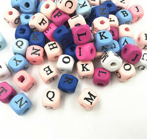 100PCs Wood Spacer Beads Alphabet Cube Mixed  For jewelry Making 10x10mm
