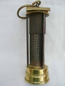 Vintage Brass & Steel Gauze Miners Lamp By Davis of Derby.