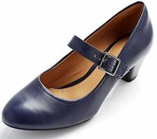 Clarks 100% Leather Mary Janes Block Heel Shoes for Women