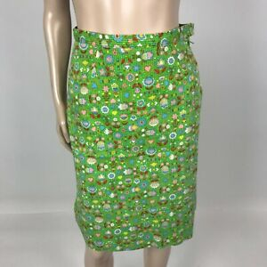 Vintage 60's 50's Handmade Women's skirt XS Cotton Mod Floral Pencil Novelty I16